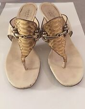 Gucci Ivory And Gold Snakeskin Leather Thong Sandals Heels For CHARITY Sz 36