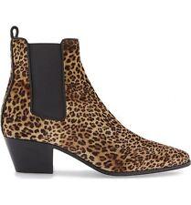 NIB Saint Laurent ROCKER Chelsea Leopard Print Ankle Bootie Boots Shoe 38 - 7.5
