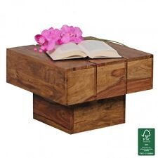 FineBuy Couchtisch Massiv-Holz Sheesham Wohnzimmertisch Beistelltisch Cube Neu