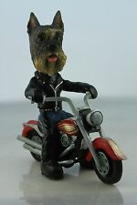 SCHNAUZER GRAY  ON A   MOTORCYCLE SEE ALL BREEDS & BODIES @ EBAY STORE