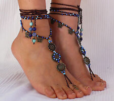Sky MANDALA BAREFOOT SANDALS foot jewelry hippie sandals toe anklet beaded