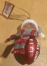 Ohio State Buckeye Ornament Scarlet Gray Football Snowman