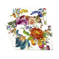 "MacKenzie-Childs Flower Market Placemats - White 12"" x 16"" - Set of 4"
