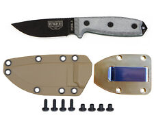 ESEE Model 3 Knife, Plain Edge (Black), Coyote Sheath & Belt Clip Plate ESEE-3P