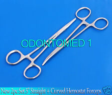 """New 2pc Set 5"""" Straight + Curved Hemostat Forceps Locking Clamps Stainless"""