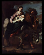 "VINTAGE 1954 ""FLIGHT INTO EGYPT"" JESUS-MARY-JOSEPH ART PRINT-BARTOLOMMEO MURILLO"
