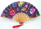 Chinese Japanese Folding Purple Silk flowers Bamboo Pocket Hand Fan