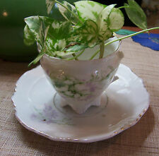 WEIMAR GERMANY China Small Footed Tea Cup & REPLACEMENT SAUCER Floral Gold Trim