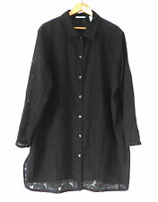 Sun Covers Duster/ Cover-Up Black Semi-Sheer Button Down Over-Sized Size L