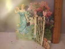 Antique Vintage Woman in GardenFold Out 3-D Valentines Card  Greetings