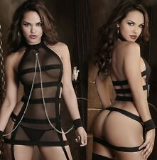 Sexy Stretchable Straps Mash Halter Wrist Cuff with Chain Lingerie, Size 8-12