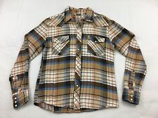 SALT VALLEY Western Plaid Flannel Brown Blue Shirt Medium Urban Outfitters