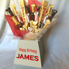 TOBLERONE SWEET CHOCOLATE BOUQUET HAMPER (PERSONALISED + PHOTO QUALITY BOX!)