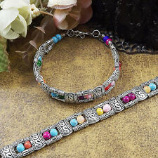 Hot Fashion Tibetan Silver Jewelry Beads Bangle Turquoise Chain Bracelets S03