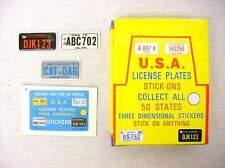 """Vintage 1979 Store Display of 72 - 2 1/2"""" Vinyl License Plate Puffy Stickers"""