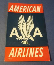 Old Vintage - AMERICAN AIRLINES - Luggage / Baggage - LABEL / DECAL - Blue/Red
