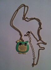 Green Owl Pendant Necklace With Chain Costume Jewellery Women's Ladies Necklace