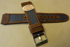 Timex Expedition Brown Light Blue Water Resistant Leather 19mm Sport Watch Band