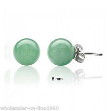 Natural 8MM Green Jade W. Gemstone 925S Silver Stud Earrings