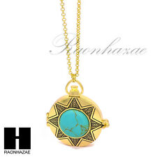 """Gold 5X Magnifying Glass Antique Sun Star Pendant 31"""" Chain Necklace SJ044G"""
