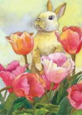 NEW LARGE TOLAND SPRING OR EASTER FLAG BUNNY TULIP  -  RABBIT & TULIPS 28 x 40