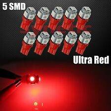 10x T10 192 921 168 2825 5050 SMD Chip 5-LED Red Interior Dome Map Lights Bulbs