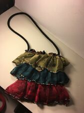 Mary Frances Handbag Purse dress shape party shoulder bag beads Ruffled Silk