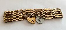 Ladies Fabulous Very Heavy Vintage 9ct Gold Five Bar Gate Bracelet With Padlock
