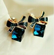 2016 Shimmer Plated Gold Bow Cubic Crystal Rhinestone Stud Earrings