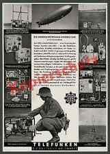 or. Reklame Telefunken Zeppelin LZ 129 Luftfahrt Elektronik Funk Fernmelde 1936