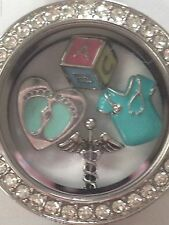 ❤️AUTHENTIC ORIGAMI OWL 2 LOCKETS CHAIN & CHARMS GIFT 4 MOM'S DAY OBSTETRICIAN❤️