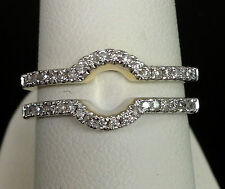 Solitaire Enhancer Diamonds Ring Guard Wrap 14k Yellow Gold Wedding Contour Band