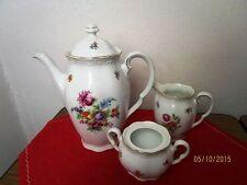 Kaffee Kern - Porzellan Kanne + Milchkännchen + Zuckerdose, wohl 19. Jhdt.  /S72