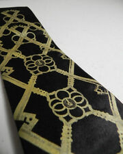 CYBEROPTIX Necktie Skeleton Keys Argyle Key Microfiber Tie Black Gold NWT