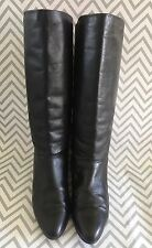 Vibram Black Leather Pull On Knee High Flat Boots Size Women's 10