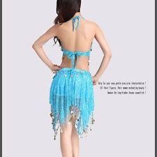 2 PCs Belly Dance Costume Set Tribal Top Bra Hip Skirt Gold Coins Dancer Costume