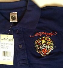 New Ed Hardy Boys Navy Polo Shirt Size M/10