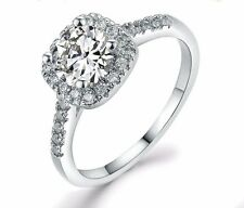D/VVS1 Diamond Engagement Ring 1 Carat Round Cut 14kGP White Gold Bridal Jewelry