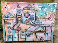 "Original, mixed media canvas ""Freedom to Fly"" 9"" x 12"" Whimsy Village Scene"