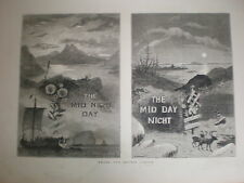 Under the Arctic Circle Mid Night Day and Mid Day Night 1880 old prints