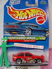 vhtf 1999 Hot Wheels red Ford ESCORT RALLY #984 ☆  original UNO Cards