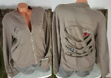 NEU LINDSAY ITALY SWEAT JACKE ☆ARMY ★ PATCHES DESTROYED COOL TAUPE 38-42