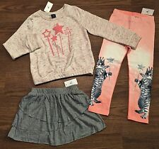 NWT BABY GAP GIRLS 4 4T FAIRY CAT BUTTERFLY WINGS MARL SWEATSHIRT LEGGING SKIRT