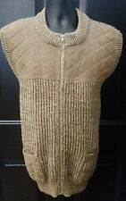 Vtg Brenire Scotland Wool Leather Sweater Zip Vest Shooting Hunting Mens Medium
