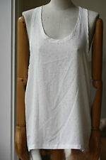 FAITH CONNEXION WHITE SILK TANK TOP WITH SILVER EMBELLISHMENT SMALL