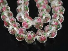 10Pcs Faceted Glass Crystal Rose Flower Inside Lampwork Spacer Loose Beads 12mm