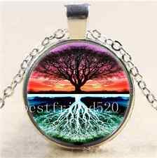 Live Tree Of Life Cabochon Glass Tibet Silver Chain Pendant Necklace#DB62