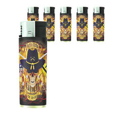 Butane Refillable Electronic Gas Lighter Set of 5 Skull Design-012