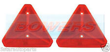 PAIR OF REAR RED REFLECTIVE TRIANGLE TRAILER/CARAVAN/GATE POSTS SCREW ON SIM