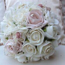 Vintage En Rosa Marfil Rosas Flores De Boda Ramo de novias gypsophillia Posy